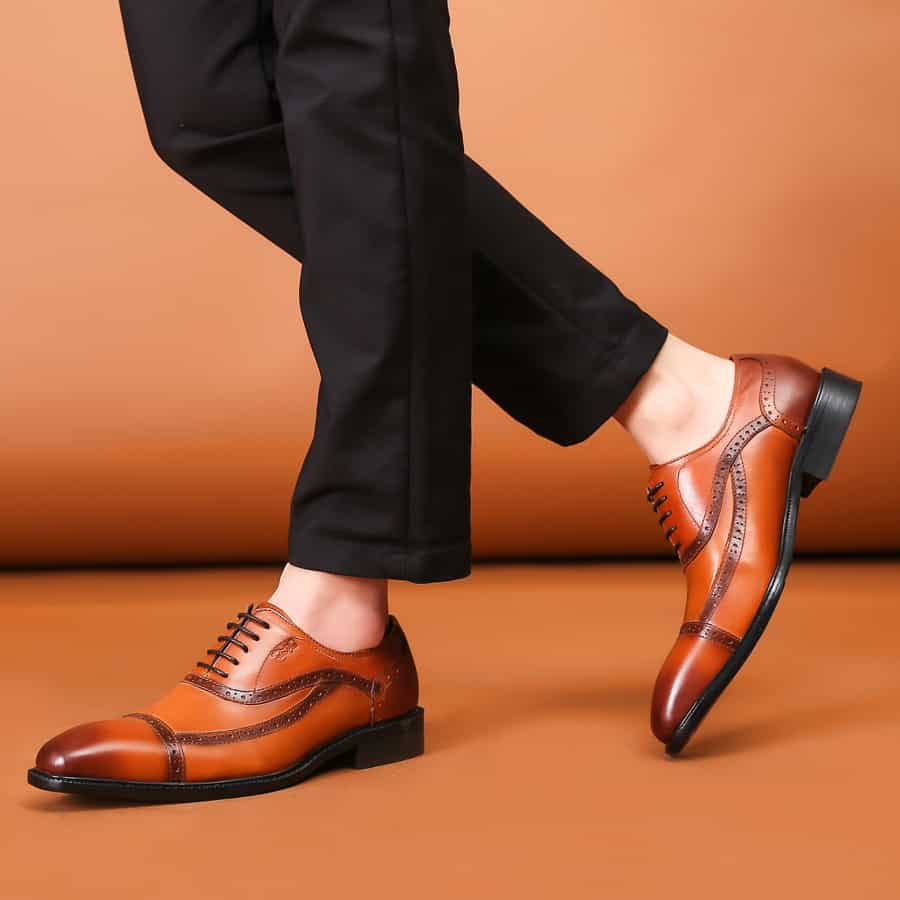 Formal Casual Business Casual brown shoes black pants Guys Style Guide: How to Wear Brown Shoes With Black Pants