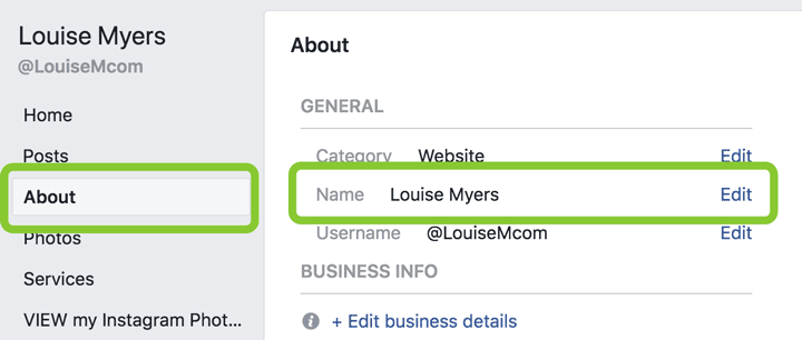 where to change Facebook Page name for a business