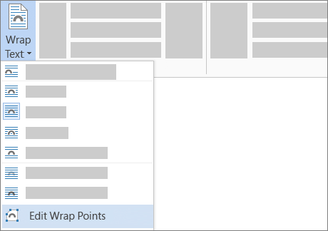 The Edit Wrap Points option for Wrap Text on the ribbon