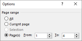 Specify a range of pages in the From and To boxes.
