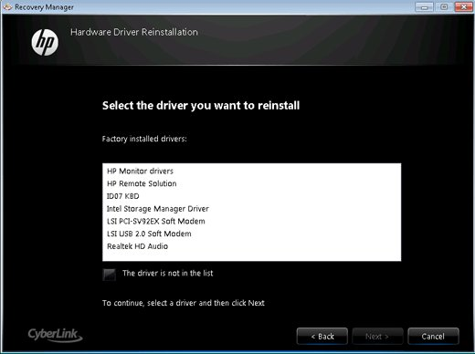 Hardware Driver Reinstallation window