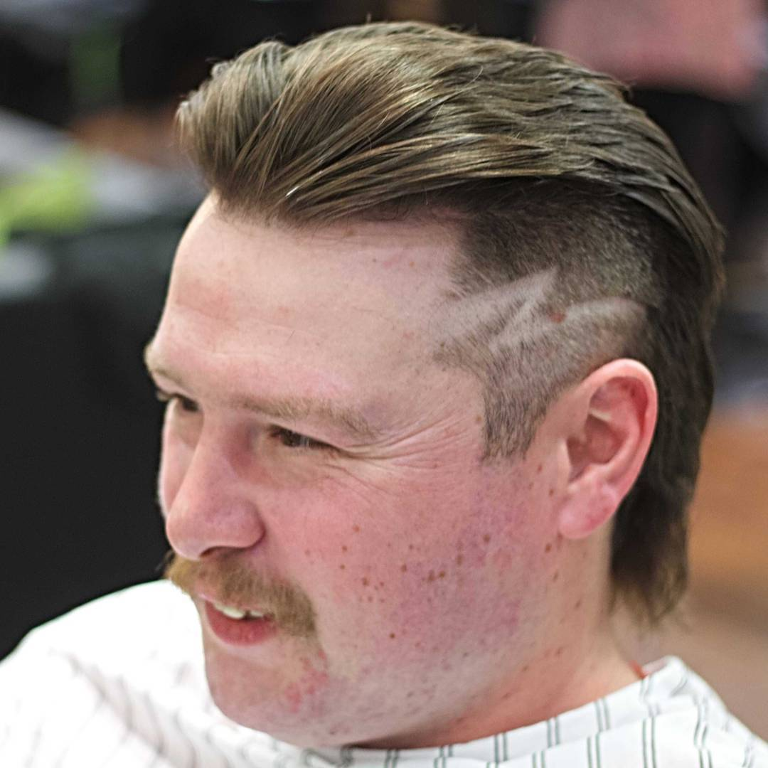 Mullet with fade and hair design