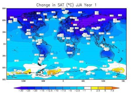 Карта измеения температуры после взрыва